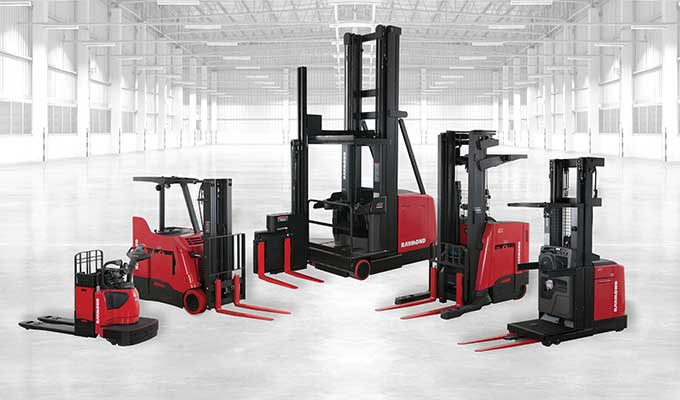 Selection of five Raymond electric lift trucks and pallet jacks available through Pengate Handling Systems