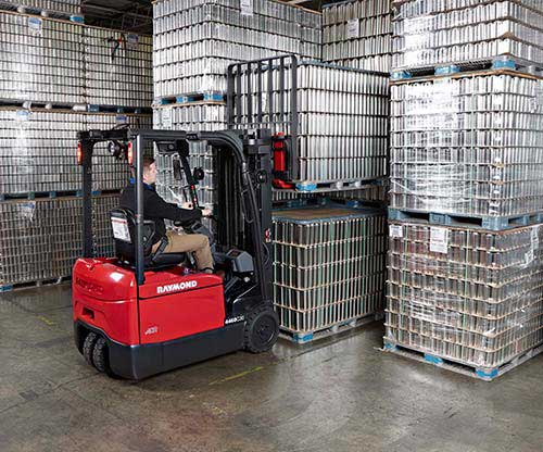 Raymond electric sit down and stand up counterbalance lift trucks provide increased productivity