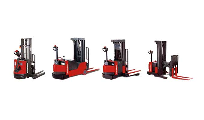 Beauty shot of Raymond electric pallet stackers