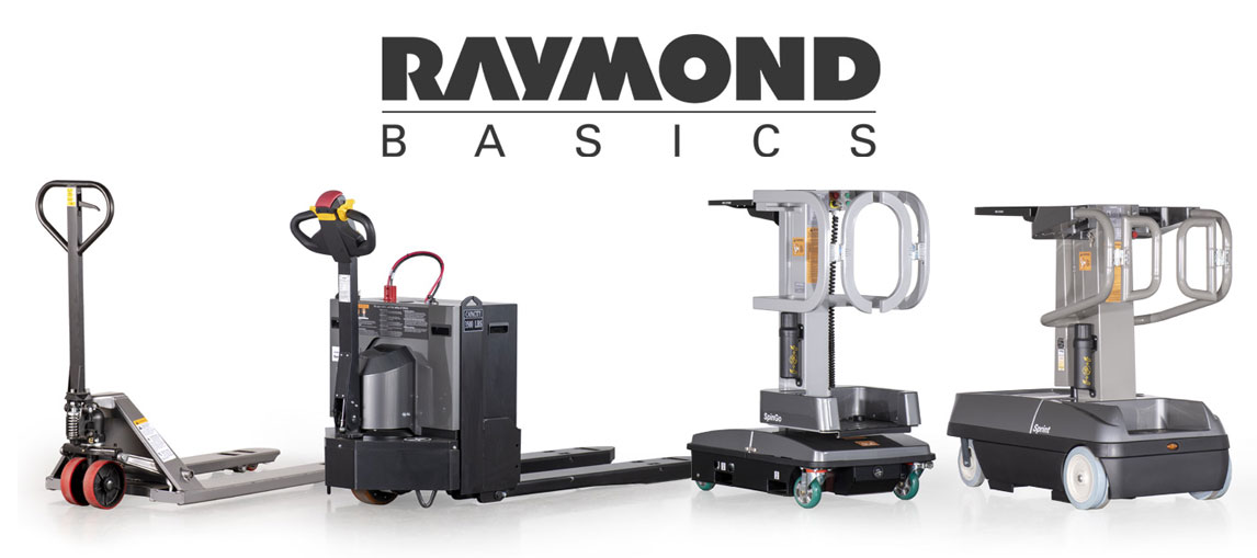The full line of Raymond Basics products, featuring the Altra Lift hand pallet jack, the LRW35 motorized pallet jack, the SpinGo personnel lifter and the Sprint aerial lift