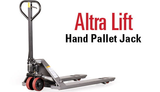 Introducing the Raymond Basics line of affordable warehouse equipment, featuring the Altra Lift Hand Pallet Jack