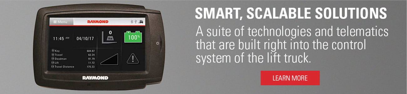 Get smart, scalable solutions with a suite of technologies and telematics that are built directly into the control system of Raymond 7000 series reach forklifts