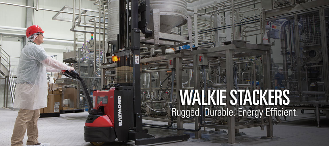 Raymond's rugged electric walkie stackers deliver unmatched durability and energy efficiency