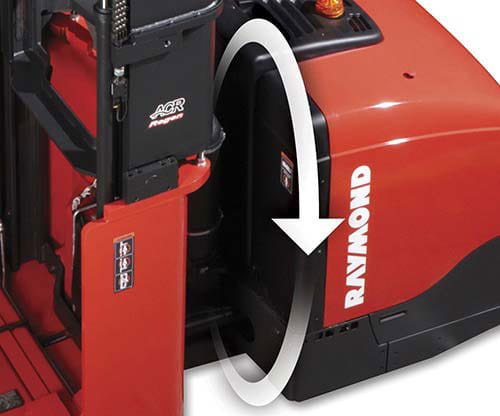 Raymond electric swing reach fork trucks have excellent eco-performance