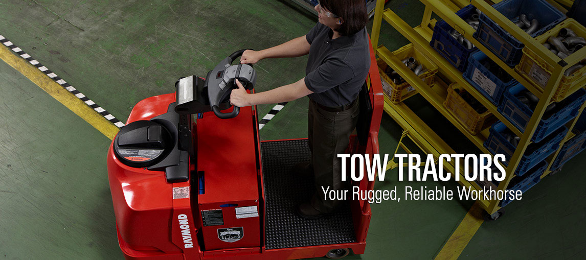 Raymond's electric tow tractors are rugged, reliable workhorses for your warehouse operations