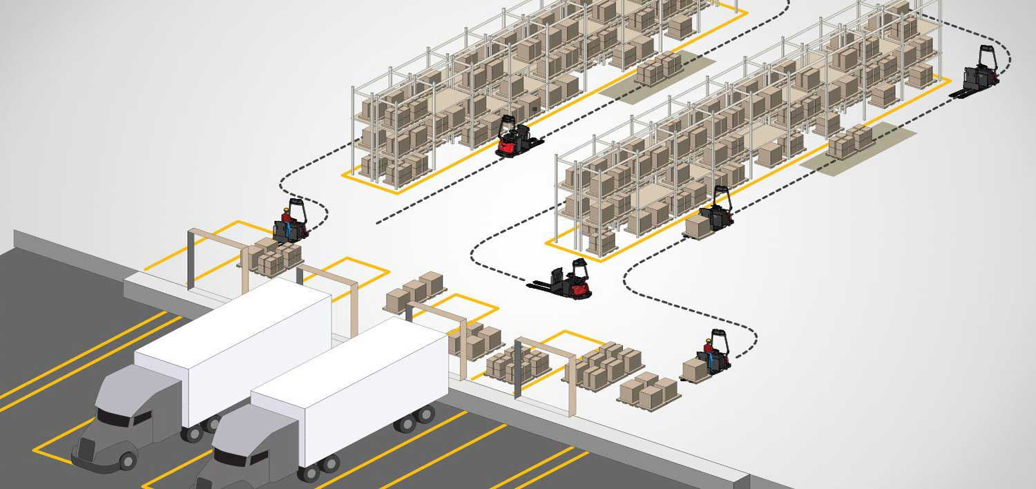 Animated drawing of route for automated courier lift trucks in warehouse aisles