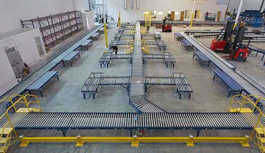Finished automated conveyor system installation in warehouse