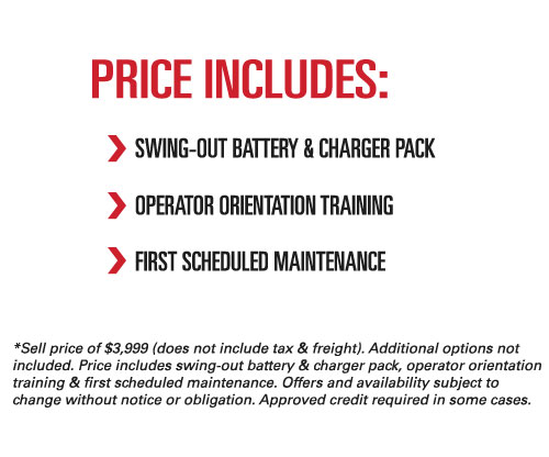 Price details and terms and conditions for the Raymond 8210 pallet jack promotion