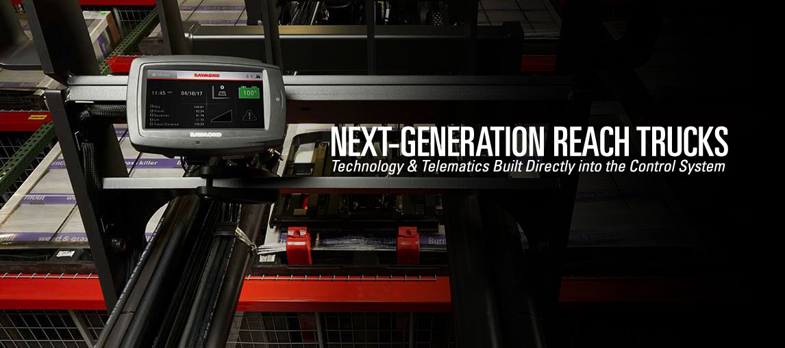 Next-generation reach trucks with technology and telematics built directly into the control system of the forklift