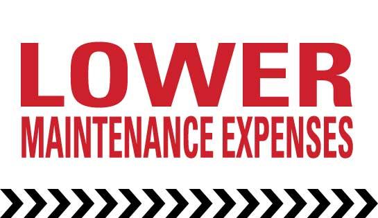 Lower maintenance expenses