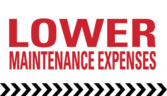 Lower maintenance expenses