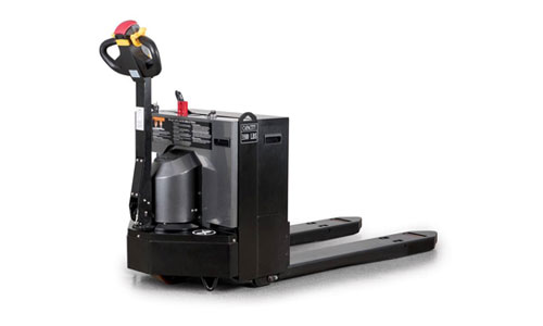 Beauty shot of the LRW35 motorized walkie pallet truck from the side