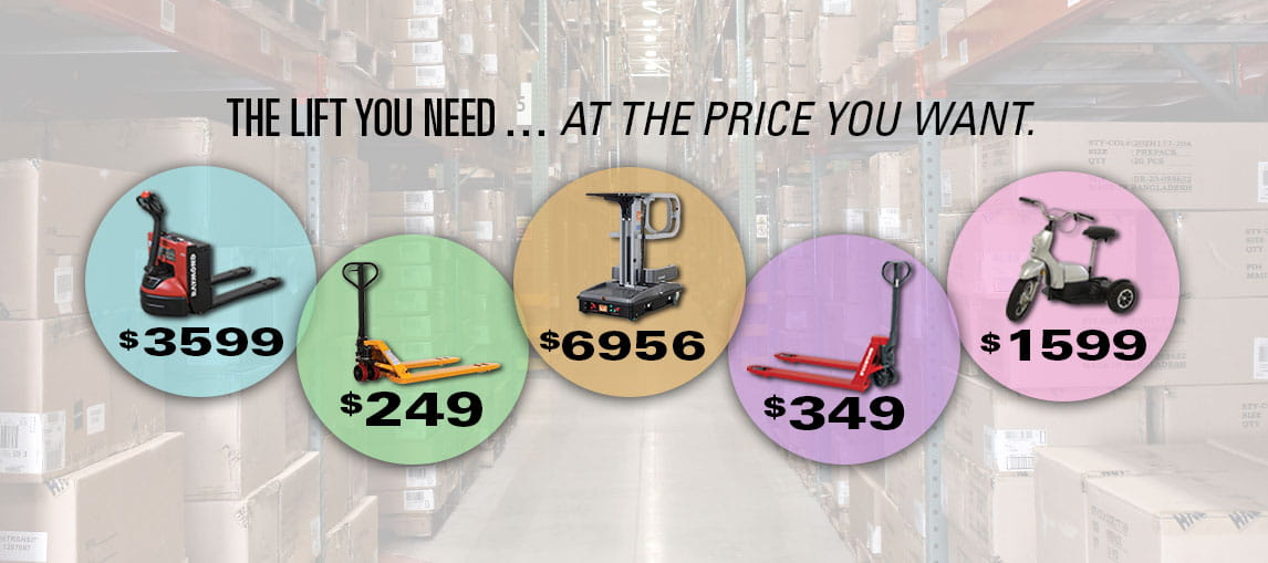 Now through December 31st, 2018, enjoy discount pricing on electric pallet jacks, hand pallet jacks, aerial lifts and personnel carriers.