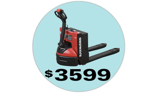 The Raymond 8210 electric pallet jack with 24V swing-out battery and charger pack, currently on sale for $3,599.