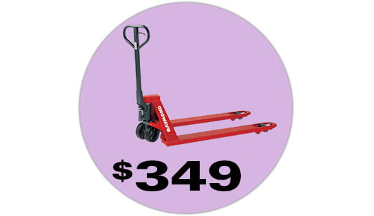 The Raymond RJ50N hand pallet jack, currently on sale for $349.