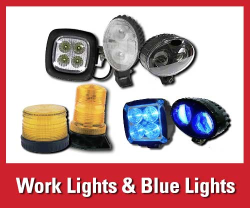 25% off featured warehouse safety products: LED work lights and blue work lights