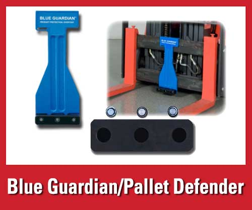 25% off featured warehouse safety products: Blue Guardian pallet defenders