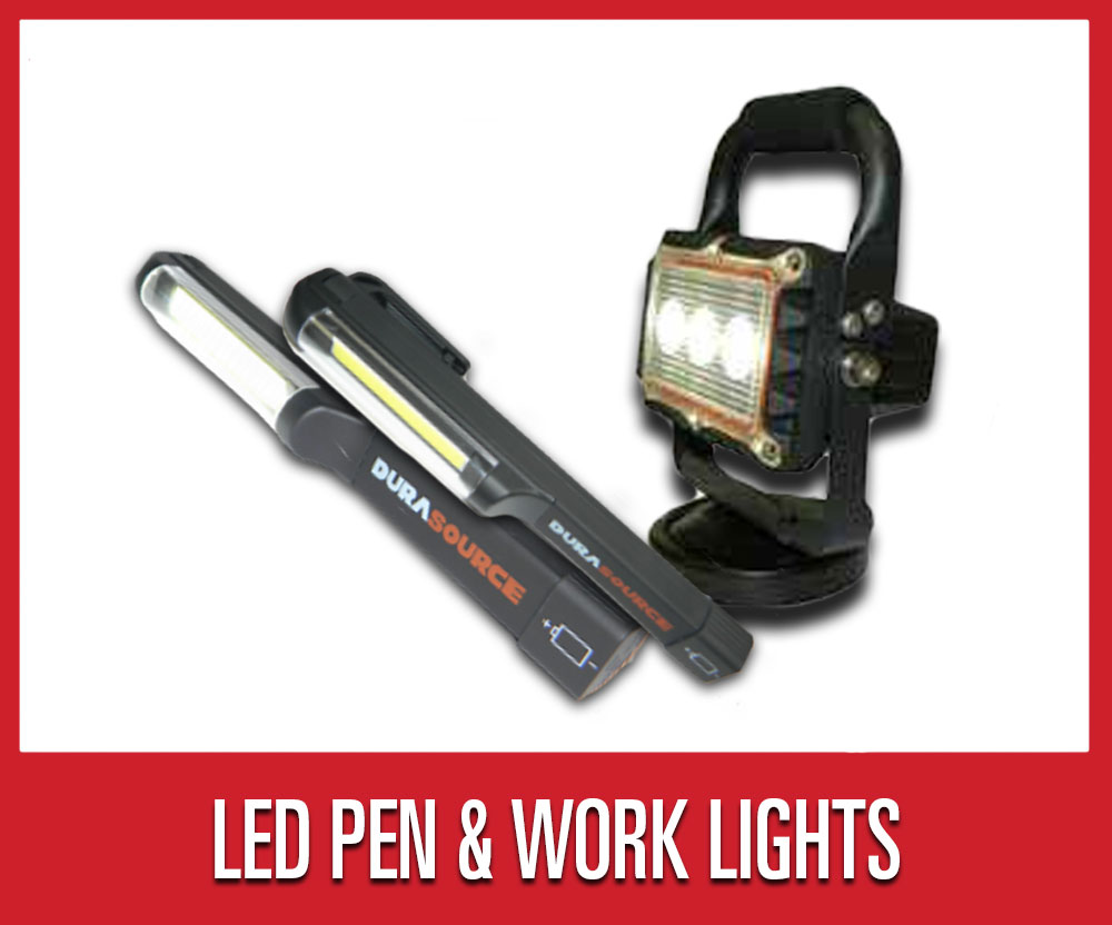 Save 25% on warehouse shop supplies and tools, including select LED work lights and LED pen lights