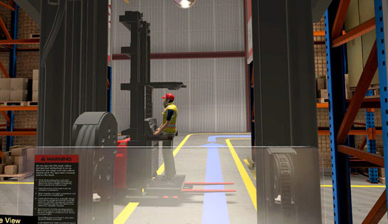 A snapshot from the Raymond virtual reality simulator that shows a warehouse employee operating a forklift