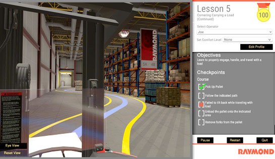 The virtual reality simulator features interactive lessons for forklift operator training
