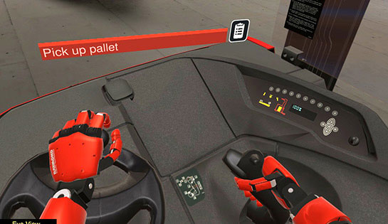 The virtual reality simulator allows forklift operators to see their hands on the forklift controls for a better training experience