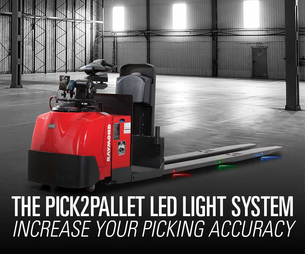Featured product booth: The Raymond Raymond Pick2Pallet LED Batch Picking System, meant to increase your picking accuracy