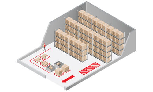Illustration depicting customized zoning controls and pick path for warehouse distribution center