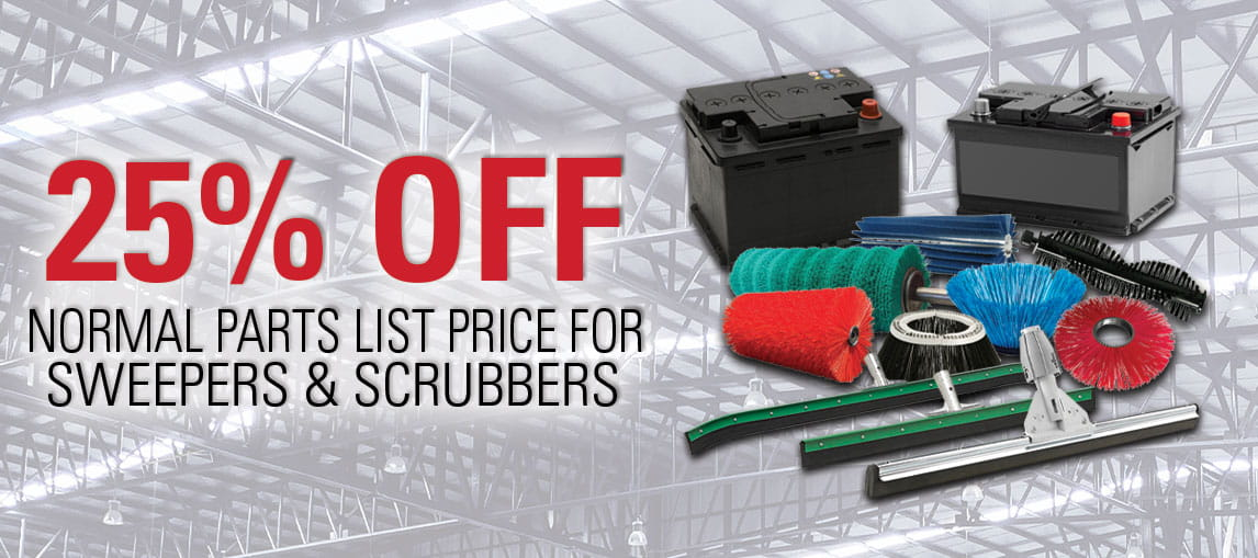 Pengate warehouse parts promotion: save 25% on parts list price for sweepers and scrubbers