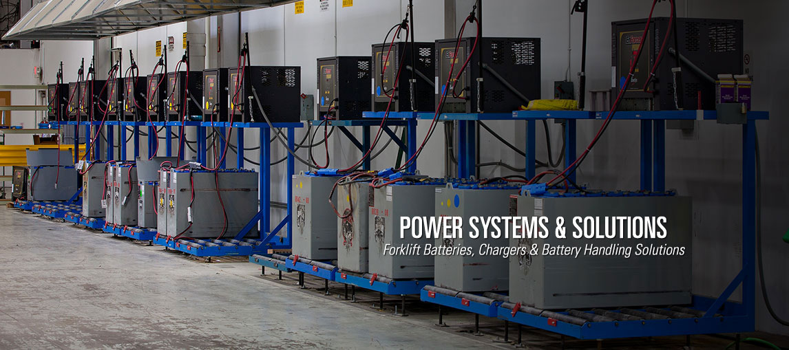 Our intelligent power systems and solutions include forklift batteries, forklift battery chargers, battery handling systems and motive power solutions.