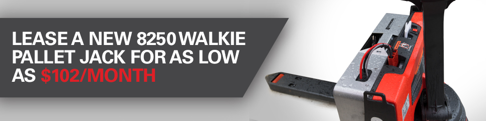 Lease a new Raymond 8250 walkie pallet jack powered by lithium ion alternative energy for as low as $102 per month.