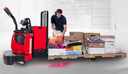 The Raymond Pick2Pallet system's lights are easy to see when using plastic of wooden pallets.