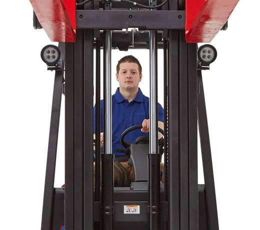 Raymond forklift with open view mast