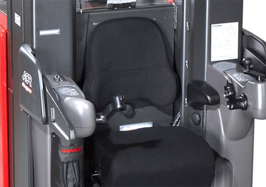 Raymond 9000 Series Swing Reach Truck Operator Compartment Close Up