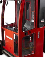 Raymond 9800 Swing-Reach Turret Truck with Enclosed Cab option