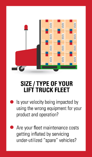 Optimization before automation consideration: monitoring and evaluating the size and type of your forklift and lift truck fleet.