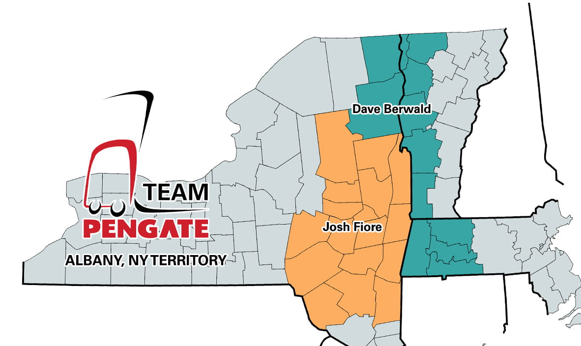 Pengate Handling Systems Albany, NY location territory map by county