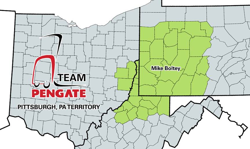 Pengate Handling Systems Pittsburgh, PA location territory map by county