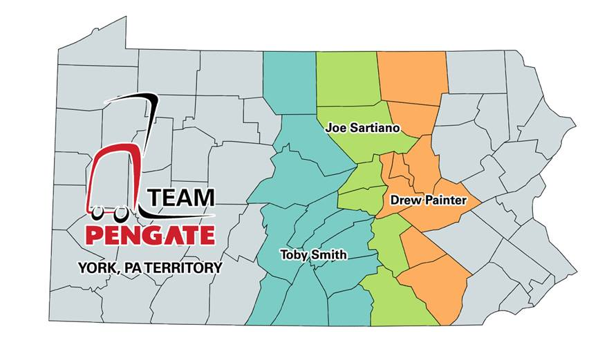 Pengate Handling Systems York, PA location territory map by county